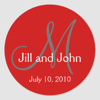 Monogram Wedding Bride Groom Date Red Sticker