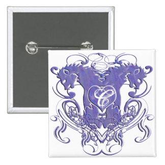 Monogram Wedding Button Lions  Swirls 4 Heads