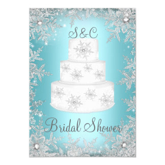 Monogram Wedding Cake Blue Bridal Shower Card