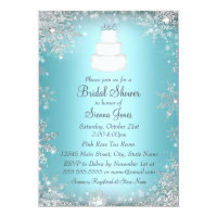 Monogram Wedding Cake Blue Bridal Shower Invite