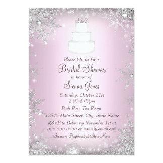 Monogram Wedding Cake Pink Bridal Shower Invite