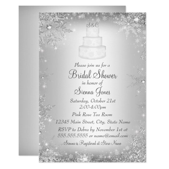 monogram wedding cake silver bridal shower invite