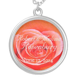 Monogram Wedding Coral Rose Necklace