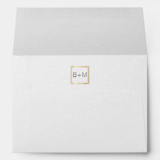 monogram wedding (couple initials) inside white envelope