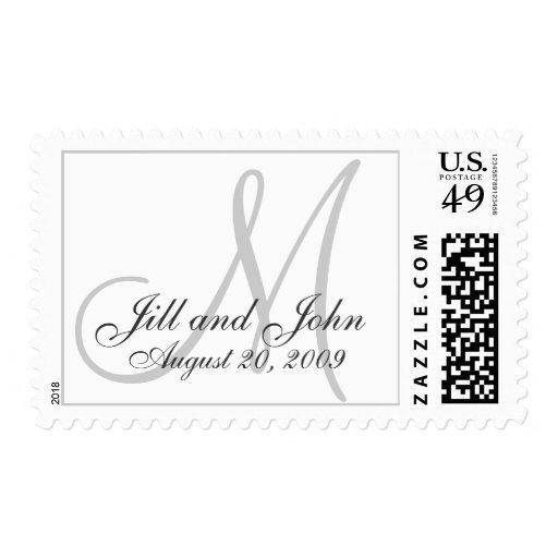 Monogram Wedding Date Bride & Groom Postage