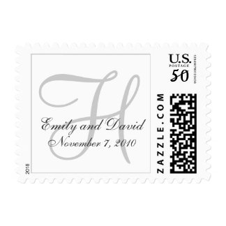Monogram Wedding Date Bride & Groom Postage