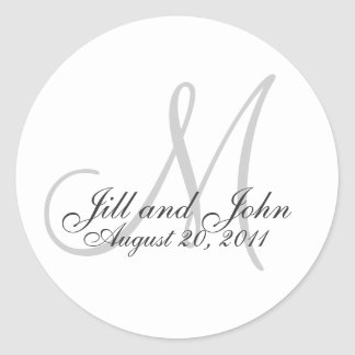 Monogram Wedding Favor Sticker