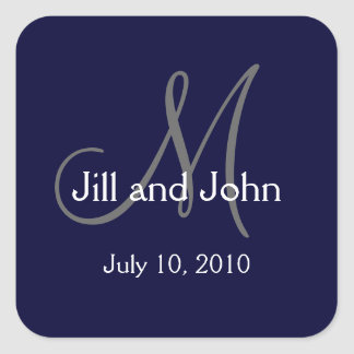 Monogram Wedding Favour Stickers Navy