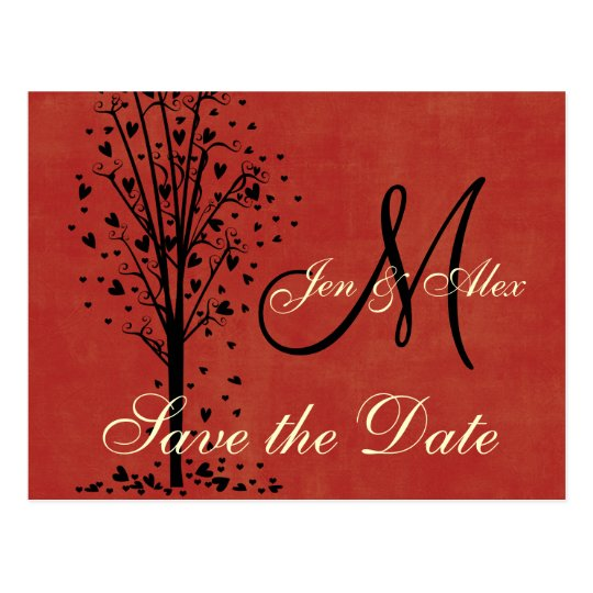 Monogram Wedding Heart Tree Save the Date Cards