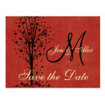 Monogram Wedding Heart Tree Save the Date Cards Post Card