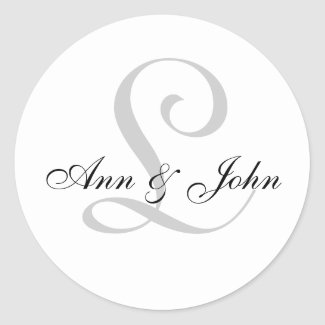 Monogram Wedding Initial Bride Groom Names Sticker sticker