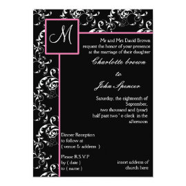 Pink Black Monogram Damask Wedding Invitations