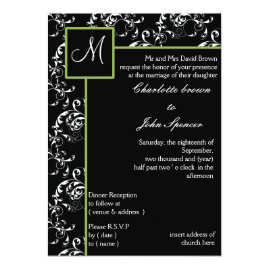 Apple Green Monogram Damask Wedding Invitations