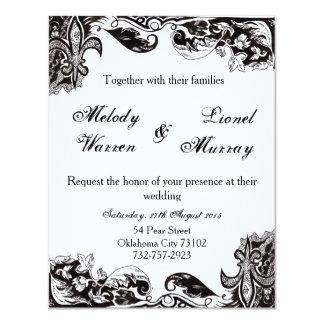 Monogram Wedding Invitation Card with Zentangle