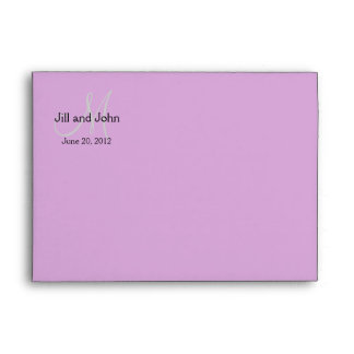 Monogram Wedding Invitation Envelope Purple