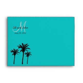 Monogram Wedding Invitation Envelopes Palm Trees