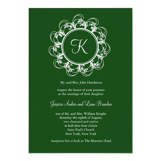Monogram Wedding Invitation (green)