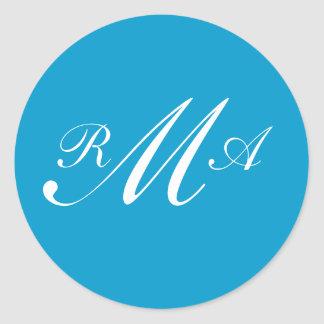 Monogram Wedding Invitation Seal Teal Blue White