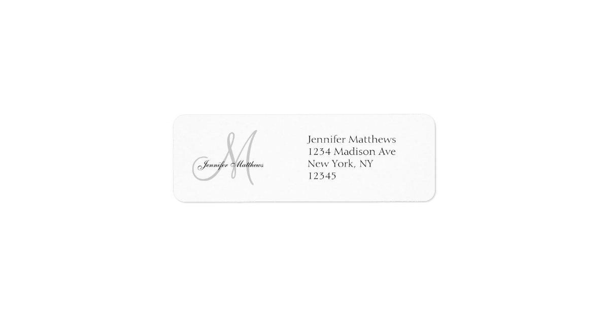 Address Labels For Wedding Invites: Monogram Wedding Invitation Simple Address Labels