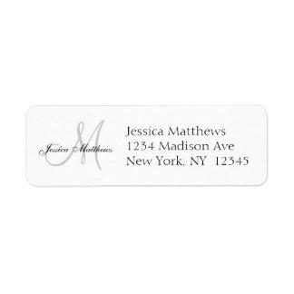 Monogram Wedding Invitation Simple Address Labels