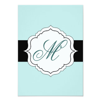 Monogram Wedding Invitations Black Seafoam Teal