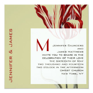 Monogram Wedding Invitations Modern Tulip