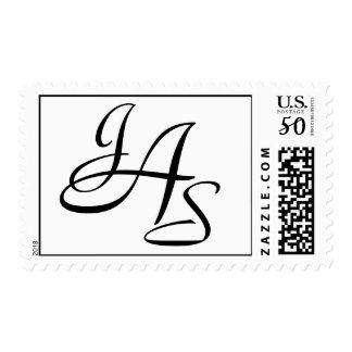 Monogram Wedding JAS Three Letters Postage Stamp