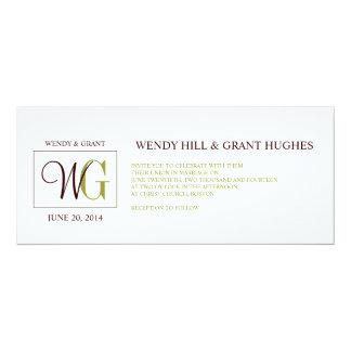 Monogram Wedding Logo Green Brown Invitation