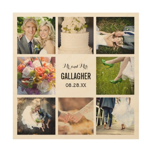 10 Celebrity Wedding Details You Can Totally Copy On A: Monogram Wedding Photo Collage Print On Wood