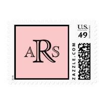 Monogram Wedding Pink Postage Stamp