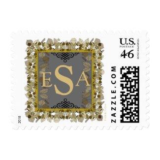Monogram Wedding Postage Grey Gold Leaf stamp