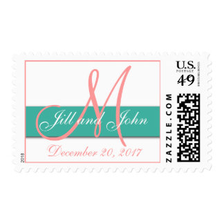 Monogram Wedding Postage Stamps Coral Turquoise