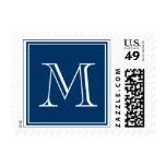 Monogram Wedding Postage Stamps Navy Blue
