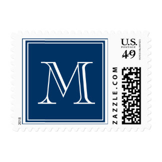 Monogram Wedding Postage Stamps Navy Blue