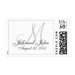 Monogram Wedding Postage Stamps White Grey