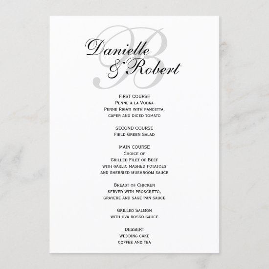 Monogram Wedding Reception Dinner Menu Card