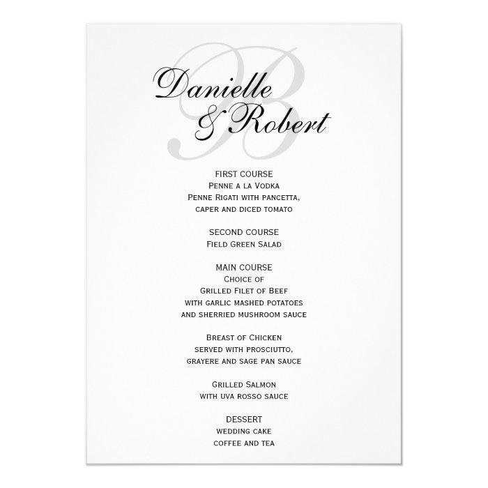 Monogram Wedding Reception Dinner Menu Card