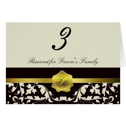 Monogram Wedding Reception Table Number Card