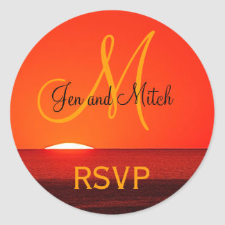 Monogram Wedding RSVP Sunset Photo Classic Round Sticker