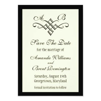 Monogram Wedding Save the Date in Off White Card