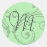 Monogram Wedding Stamp Round Stickers