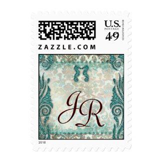 Monogram Wedding Stamp Seahorse Teal Vintage