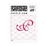 Monogram Wedding Stamps, Pink Crisscross on White Postage