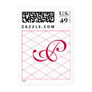 Monogram Wedding Stamps, Pink Crisscross on White