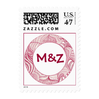 Monogram Wedding Stamps Red Violet Abstract Circle