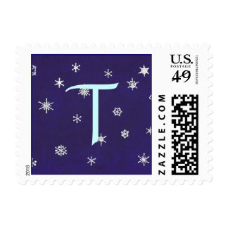Monogram wedding stamps, snowflakes, blue template postage