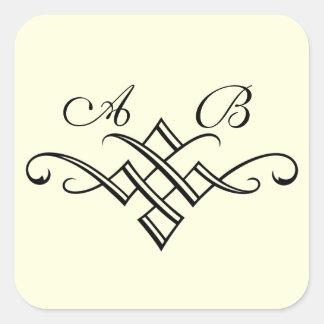 Monogram Wedding Sticker in Off White