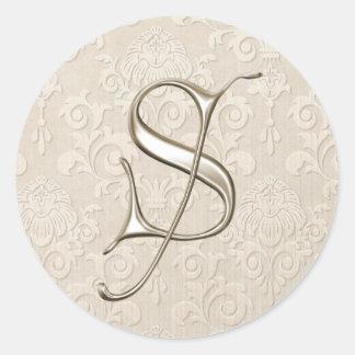 Monogram Wedding Stickers - letter S