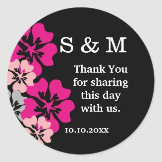Monogram Wedding Thank You Pink Flowers On Black Classic Round Sticker