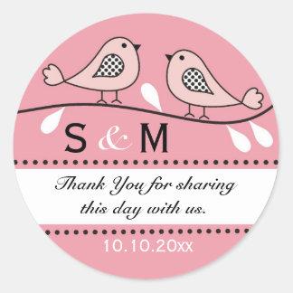Monogram Wedding Thank You Stickers Pink Love Bir